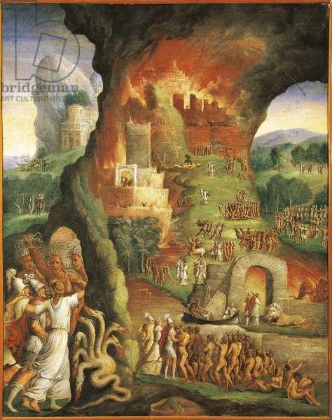 Italy, Varallo Sesia, The fire of Troy, Scene from the Aeneid, Fresco detail