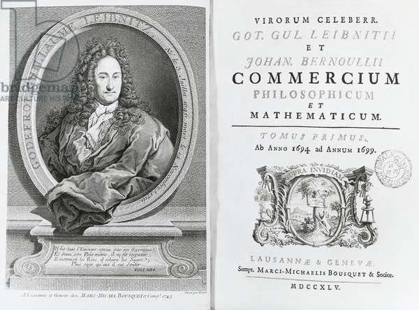 On the left, Gottfried Wilhelm Leibniz (Leipzig, 1646-Hannover, 1716), German philosopher and scientist, and, right, the title page for his Treatise on Commercium Philosophicum et Mathematicum