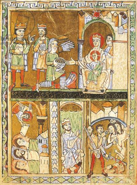 Adoring the Magi, Herrod and the massacre of the innocents, miniatures from the Gospels of the great festivities, manuscript, France 13th Century.