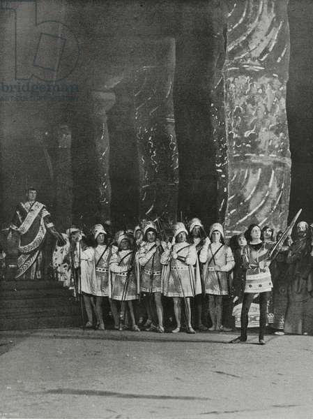 Diocletian, archers and St Sebastian (Ida Rubinstein), Act III of Martyrdom of St Sebastian, by Claude Debussy and Gabriele d'Annunzio, being performed in Paris, France, from L'Illustrazione Italiana, Year XXXVIII, No 22, May 28, 1911
