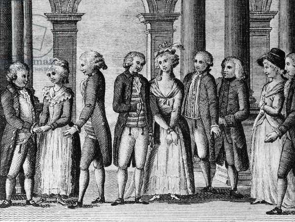 Illustration for comic theatre, comedy by Carlo Goldoni (1707-1793), engraving, from Opere teatrali del sig avvocato Carlo Goldoni veneziano, published by Antonio Zatta e figli, 1791, Venice
