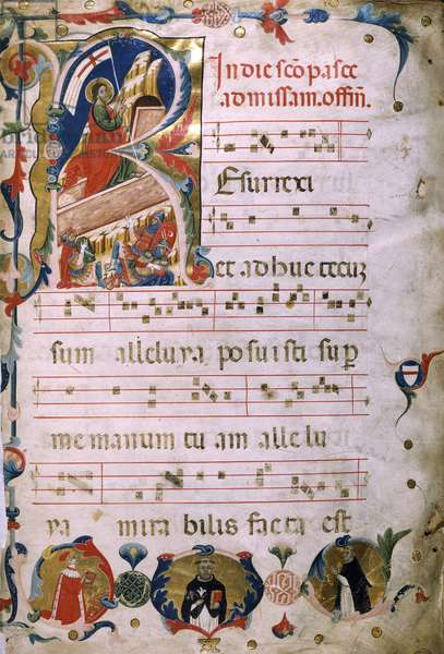 Illuminated page with a portrait of the Doge Marino Zorzi, from her own medieval antiphonary, manuscript, Italy.