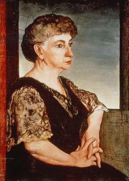 Portrait of the artist's mother, by Giorgio de Chirico (1888-1978), oil on canvas. Italy, 20th century.
