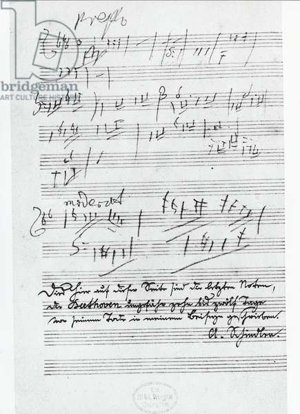 The last page of music written by the German composer Ludwig van Beethoven (1770-1827)