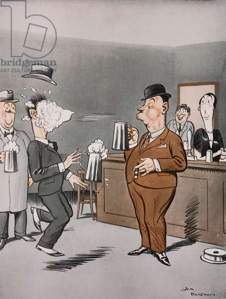The world's champion froth-blower, Beer-drinker, cartoon by Henry Mayo Bateman (1887-1970) from The Tatler, No 1357, June 29, 1927, London
