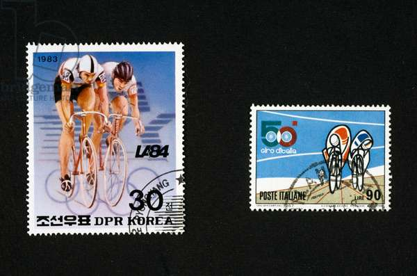 Postage stamps honoring cycling, postage stamp commemorating 1984 Los Angeles Olympic Games, commemorating 50th Tour of Italy, North Korea and Italy, 20th century