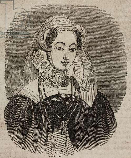 Portrait of Mary Stuart (1542-1587), Queen of Scots, illustration from Teatro universale, Raccolta enciclopedica e scenografica, No 71, November 7, 1835