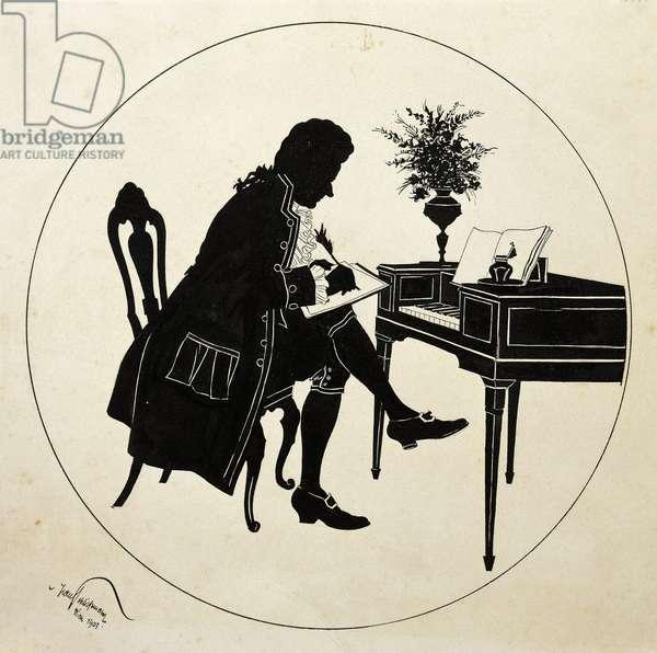 Wolfgang Amadeus Mozart at piano, illustration