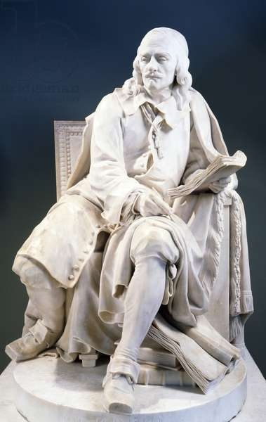 Marble statue of Pierre Corneille (1606-1684), by Jean-Jacques Caffieri (1725-1792)