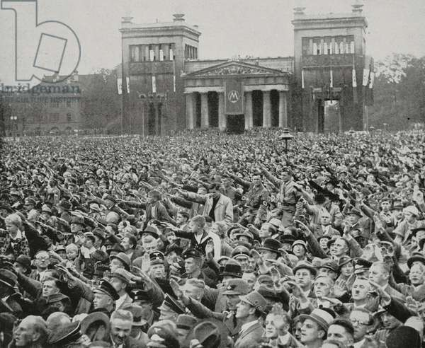 German people cheer Duce Benito Mussolini (1883-1945) on visit in Berlin, Germany, from L'Illustrazione Italiana, year LXIV, n 40, October 3, 1937