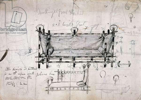 Design for sofa, 1862, drawing by Dante Gabriel Rossetti (1828-1882), United Kingdom, 19th century