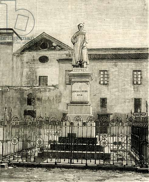 Monument to Giordano Bruno (1548-1600), Nola, Campania, Italy, woodcut from Le cento citta d'Italia (Hundred Italian towns), illustrated monthly Supplement of Il Secolo, Milan, March 31, 1899, year 34
