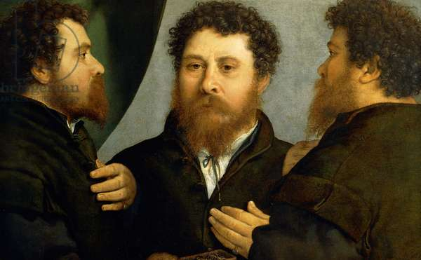 Triple portrait of goldsmith by Lorenzo Lotto (1480 ca- 1556), oil on canvas, 521x791 cm, 1525-1535