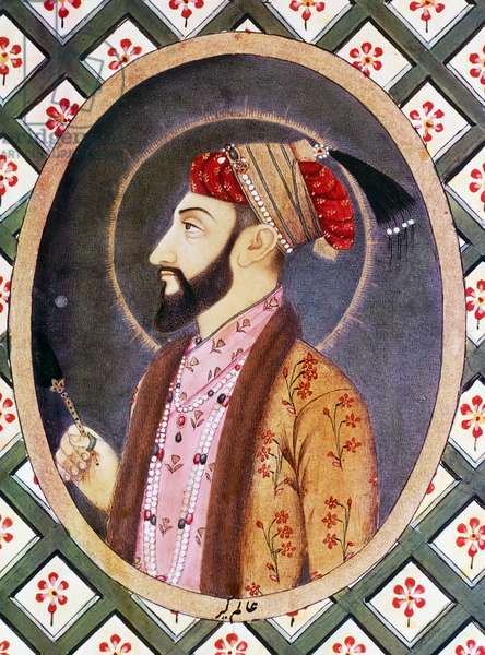 Portrait of Mughal Emperor Aurangzeb known as Alamgir I (1618-1707), ruler of India from 1658 to 1717, 18th century Indian miniature