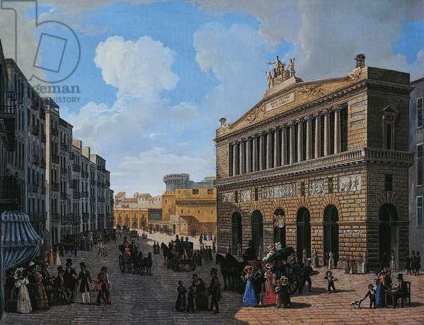 Teatro San Carlo in Naples, by Gennaro d'Aloisio (20th century), oil on canvas