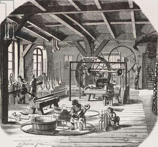Adolphe Sax's wind instrument factory, ground floor, Rue Neuve-Saint-Georges, Paris, France, illustration by Renard and Valentin from L'Illustration, Journal Universel, No 258, February 5, 1848