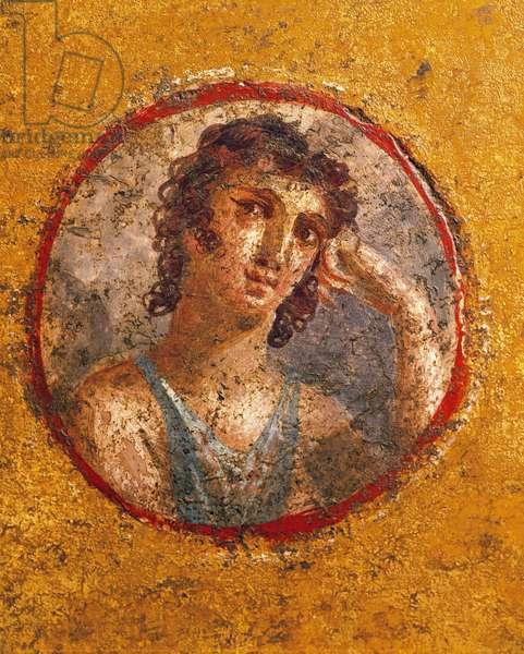 Medallion with boy's portrait, fresco, from Casa degli Amorini Dorati (House of Golden Cupids) in Pompeii
