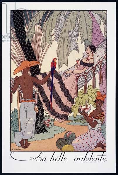 La Belle Indolente, lithograph by George Barbier (1882-1932), from Falbalas et Fanfreluches, Almanach des Modes Presentes, Passees et Futures, France, 20th century