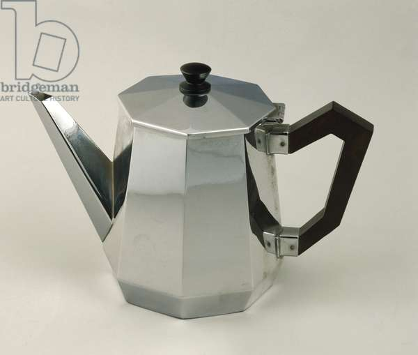 Silver coffeepot. Alessi manufacturing, 1935-37.
