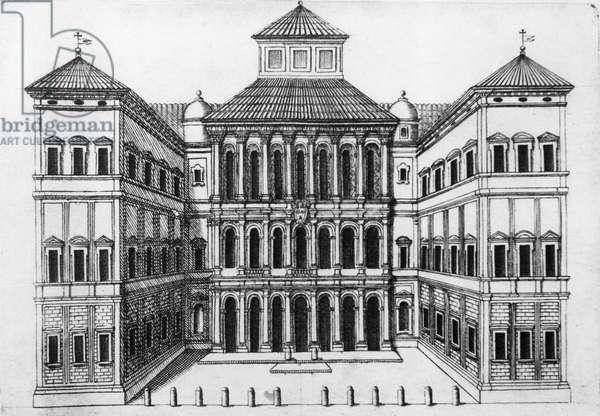 Facade of Palazzo Barberini, in Via Quattro Fontane in Rome, designed by Carlo Maderno (1556-1629), Francesco Borromini (1599-1667) and Gian Lorenzo Bernini (1598-1680), engraving, Italy, 17th century