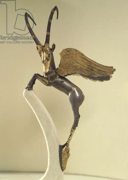 Handle of vase in shape of winged ibex, artefact from Armenia