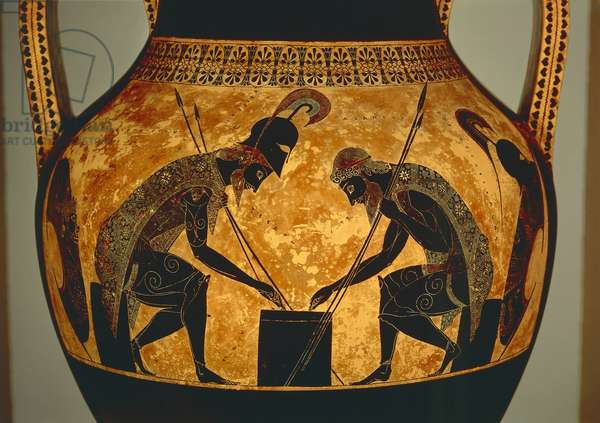 Attic black-figure amphora depicting Achilles and Ajax playing dice, from Vulci, c.540-530 BC (ceramic) (detail)