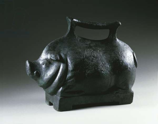 Pig shaped bronze and lead weight on rectangular base, From Pompeii