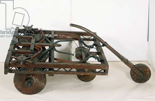 Model of self-propelled cart (also known as Leonardo's automobile), designed by Leonardo da Vinci (1452-1519), reconstruction from Codex Atlanticus, f 812, Italy, 15th century