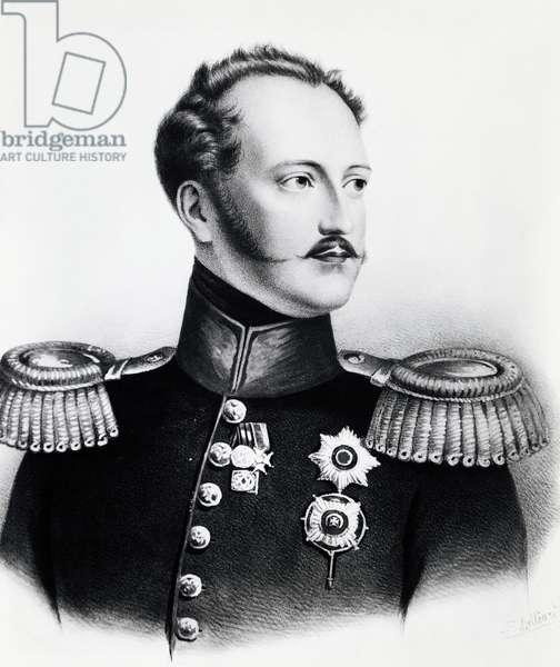 Portrait of Nicholas I Romanov (1796-1855), Tsar of Russia from 1825 to 1855, engraving