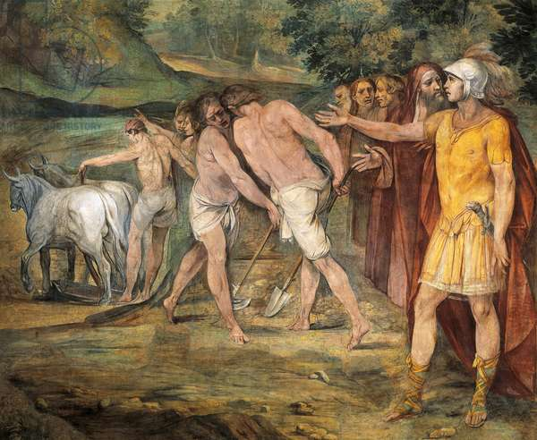 Romulus marking limits of Rome, by Giuseppe Cesari (1568-1640), fresco, Hall of Horatii and Curiatii, Conservatories Palace, Rome, Roman Kingdom, Italy