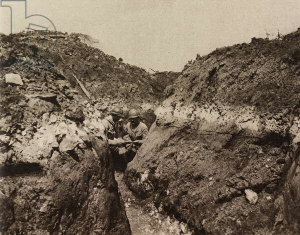 French trench, Chemin des Dames, France, Second Battle of Aisne, First World War, photograph from magazine L'Illustration, year 75, no 3875, June 9, 1917