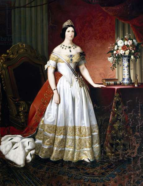 Portrait of Princess Maria Antonia of the Two Sicilies (Palermo, 1814-Gmunden, 1898), and Grand Duchess of Tuscany as the consort of Leopold II (1797-1870), painting by Carlo Morelli, 1840