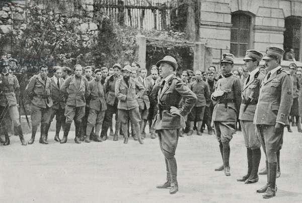 Gabriele D'Annunzio holding speech in front of legionnaires during celebration of St Gabriel, March 18, 1920, Rijeka, Croatia, from l'Illustrazione Italiana, Year XVLII, No 12-13, March 21-28, 1920