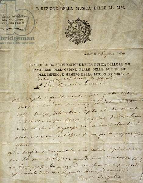 Autograph letter by Giovanni Paisiello (1740-1816), Italian composer