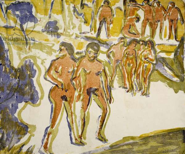 Group of swimmers, 1909, by Ernst Ludwig Kirchner (1880-1938)