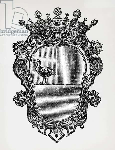 Coat of arms of Alessandro Count of Cagliostro (pseudonym of Giuseppe Balsamo, 1743-1795). Italy, 18th century.