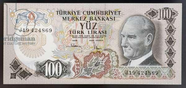 100 lirasi banknote, 1970, obverse, portrait of Mustafa Kemal Ataturk (1881-1938), Turkey, 20th century