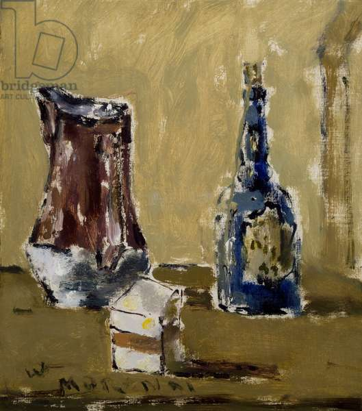 Still life with blue bottle, by Filippo de Pisis (1896-1956). Italy, 20th century.