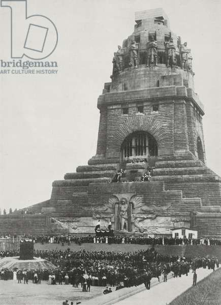 Unveiling monument to Emperor William II for centenary of Battle of Leipzig, Leipzig, Germany, photograph by Argus, from L'Illustrazione Italiana, Year XL, No 43, October 26, 1913