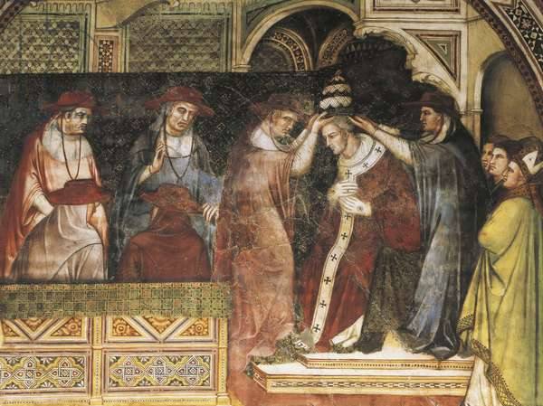 Coronation of Pope, scene from Stories of Alexander III, 1407-1408, by Spinello Aretino (ca 1350-1410), fresco, Priory Room, Public Palace, Siena (UNESCO World Heritage List, 1995), Tuscany, Italy, 15th century