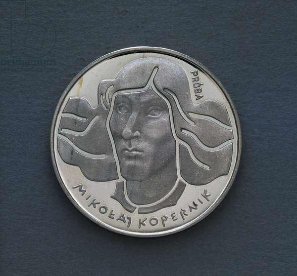 100 zloty coin, 1973-1974, reverse, Nicolaus Copernicus (1473-1543), Poland, 20th century