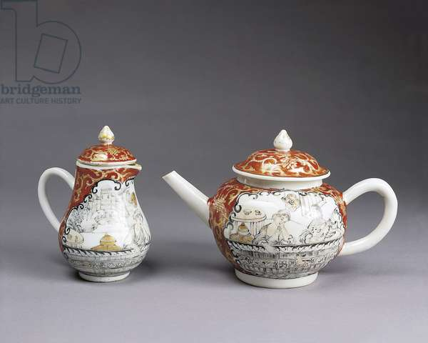 Teapot and coffee pot with romantic scenes