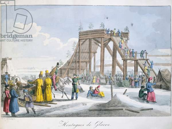 Ice-covered rollercoaster, by Charles Lasteyrie du Saillant, 1820, Russia, 19th century Engraving