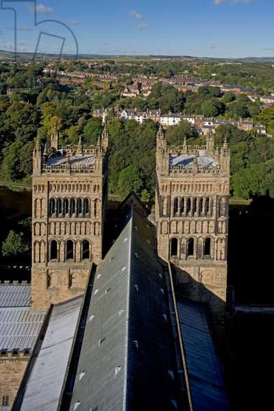 The bell tower as seen from the central tower, Durham cathedral (11th-12th century) Durham (Unesco World Heritage List, 1986), Durhamshire, United Kingdom