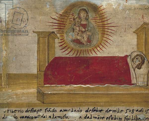 Ex-voto depicting Madonna and Child with patient in bed, Abbey of St Maria del Monte, Cesena, 1527-1585, Emiglia-Romagna, Italy