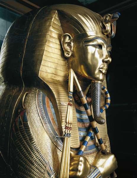 Tutankhamun's second innermost coffin, From Pharaoh's tomb in Thebes, Egypt, Goldsmith art, Egyptian civilization, New Kingdom, Dynasty XVIII