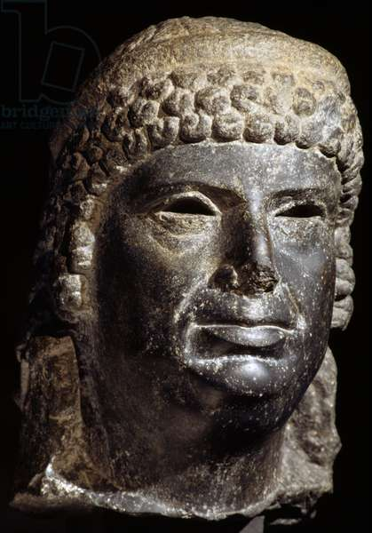 Head of Cleopatra III, 145-101 BC, basalt sculpture, Egyptian Civilization, Ptolemaic Period, 2nd century BC