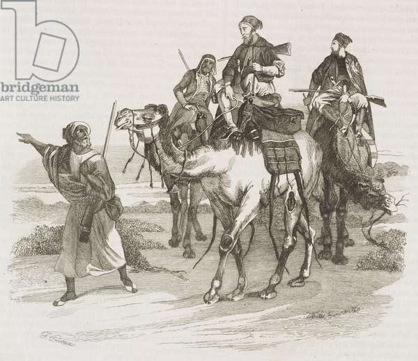 Horace Vernet on the road in the desert, drawing from a painting, engraving from L'album, giornale letterario e di belle arti, September 21, 1844, Year 11