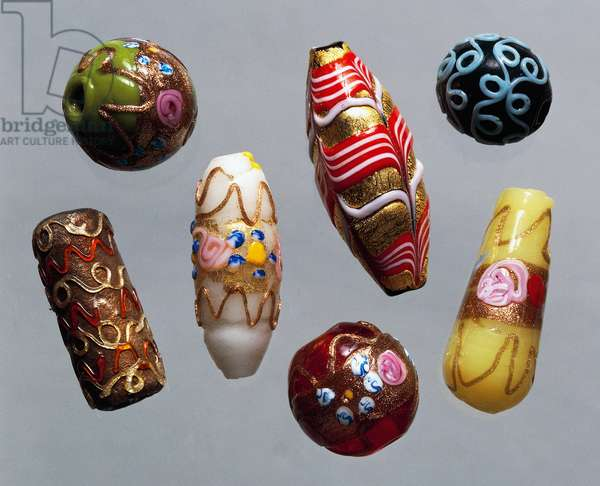 coloured and decorated Murano glass beads of various sizes and shapes, Italy, 20th century