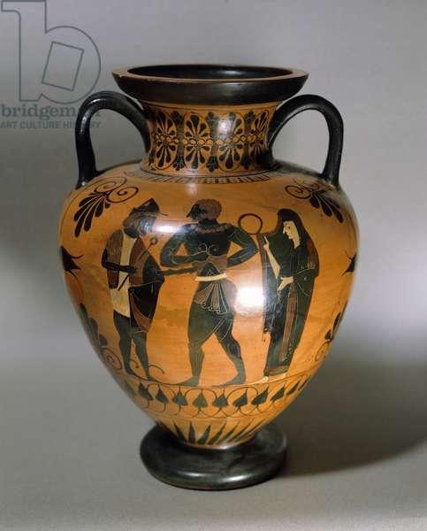 Amphora, black-figure pottery from Vulci, Italy, Greek Civilization, 5th Century BC